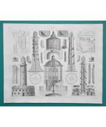 DOCKS Harbors London Toulon Lighthouses Bermuda Trieste - 1844 Superb Print - $30.60