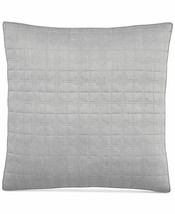 Hotel Collection Modern Plaid Geometric Quilted Gray Euro Sham $100 - $33.25