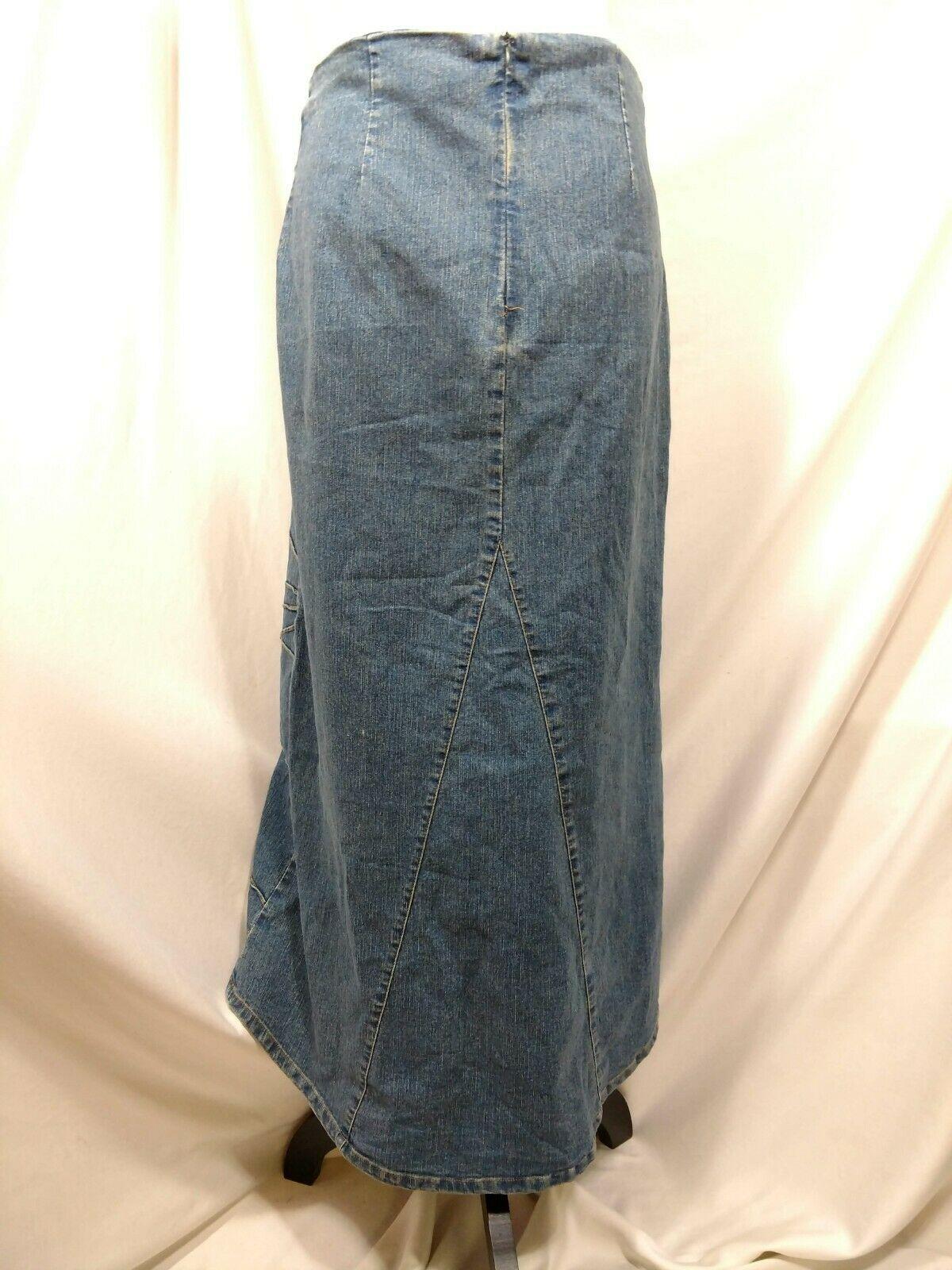 Vtg RT JEANS CO Denim Skirt Long Modest Sz 34 Fits Small Medium Blue Jean Maxi image 7