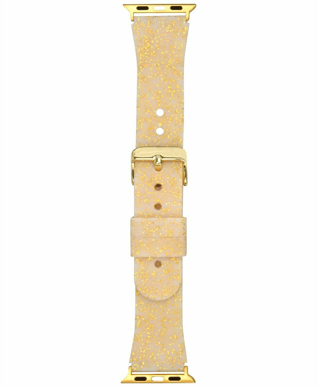I.N.C. Women's Metallic Gold Tone Glitter Silicone 38mm Apple Watch Band Strap