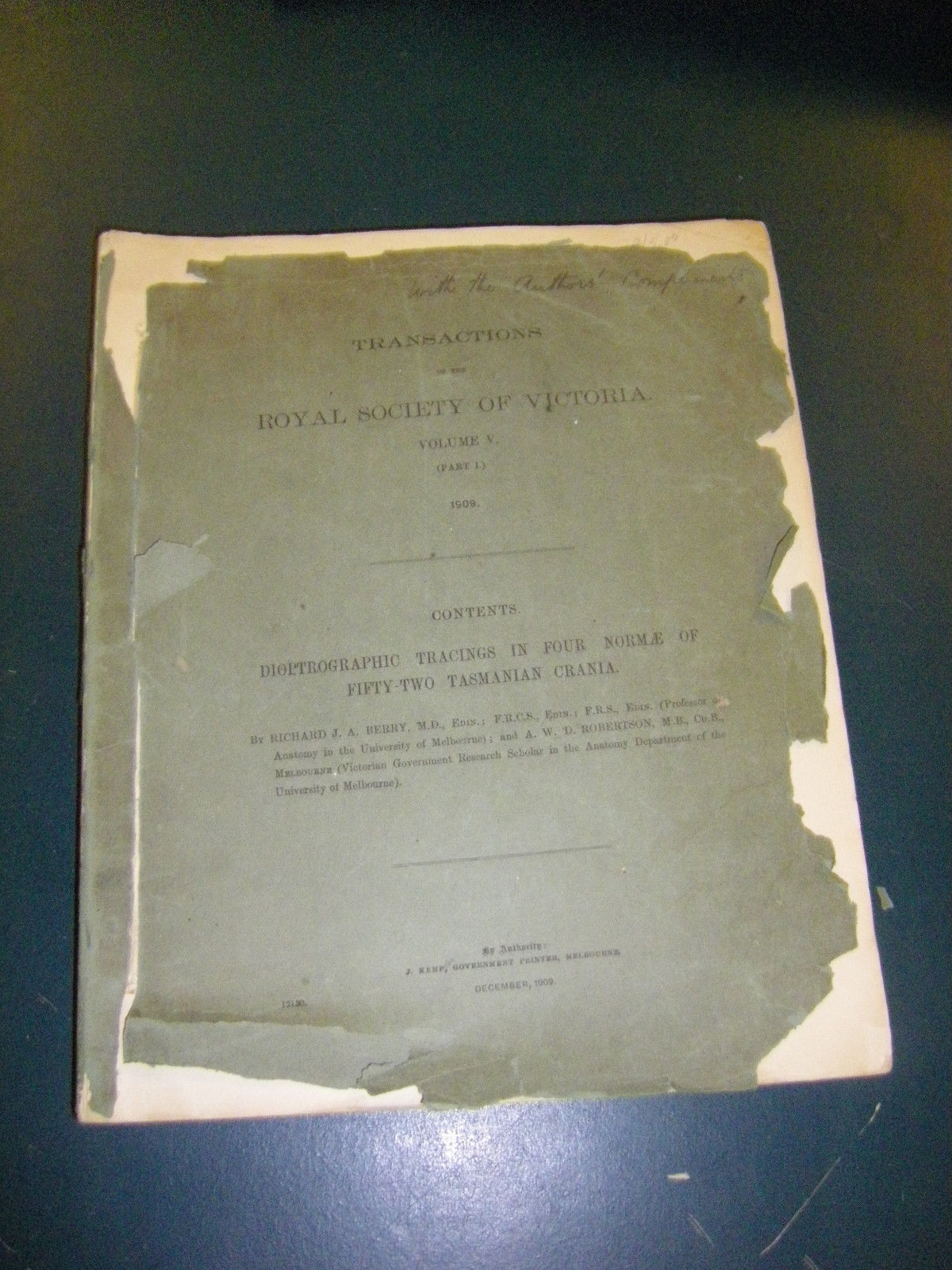Transactions of the Royal Society of Victoria Vol V part 1 1909