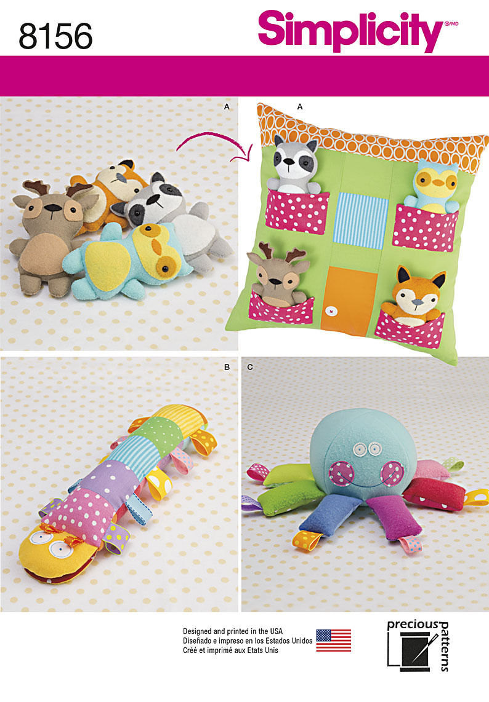 Simplicity 8156 Stuffed Animals, Pillow House, Caterpillar, Octopus, Raccoon, Fo