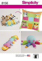 Simplicity 8156 Stuffed Animals, Pillow House, Caterpillar, Octopus, Rac... - $9.00