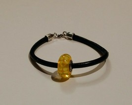 Pandora Murano yellow flower bead black leather silver Bracelet - $39.59
