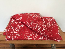 IKEA Ethel Slinga Red Floral 100% Cotton Twin Sized Bed Duvet Cover - $31.99