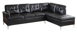 "Homelegance Barrington 109"" X 108"" Pu Leather Chaise Sofa, Black - $1,695.19"