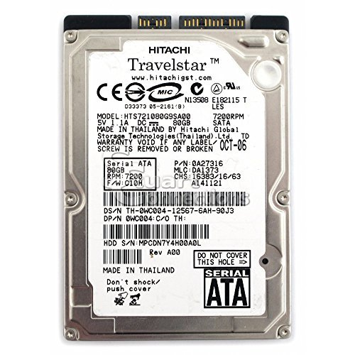 Hitachi A26586 80GB 7200RPM SATA Hard Drive- HTS721080G9SA00