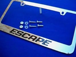 Ford Escape Chrome License Plate Frame Engraved Black w/ Logo Screw Caps - $22.99