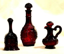 Ruby Red Glass Decanter, Bell and Cruet AA18 -1018 Vintage Collectible 3 piece image 5