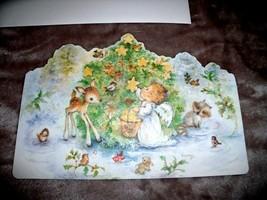 NEW Hallmark Mary Hamilton ANGEL & ANIMALS Christmas Card Decorating Tree Deer - $24.95