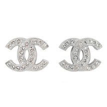 AUTHENTIC CHANEL CLASSIC SILVER CRYSTAL CC LOGO STUD EARRINGS MINT