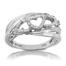 Solid Sterling Silver Diamond Heart Ring»R217 - $93.03
