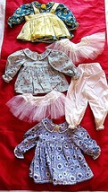 Blue Doll Maker Dresses Lot of 3 Floral for Antique Bisque Dolls Crafts - $29.69