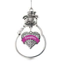 Inspired Silver Magenta Daughter Pave Heart Snowman Holiday Ornament - $14.69