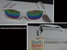 FG Beach Blast  Trendy White Sunglasses NWT 100% UVA UVB Protection - $8.99