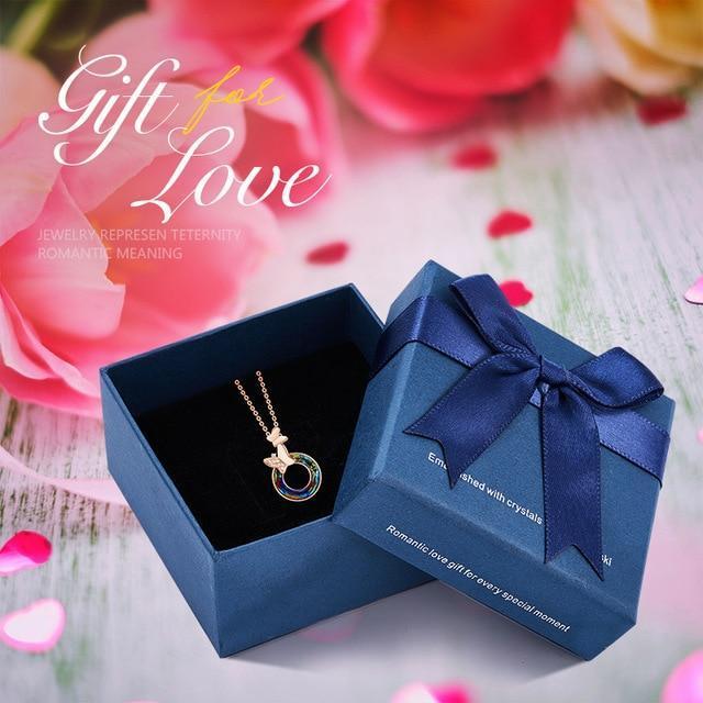 Swarovski Crystal Hollow Round Shaped Rose Gold Necklace image 4