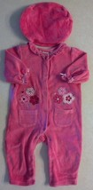 Girl's Size 6-9 M Months 2 Pc Bright Pink Baby Togs Velour Floral Romper... - $6.50