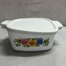 Vintage Corningware Pansies 1.5L Dish With Plastic Lid - Fs - $23.15