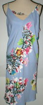 NWT New Designer Natori Womens XL Night Gown Silky Light Blue Pink White Flower image 4