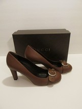 NEW Gucci Dark Brown Leather Interlocking G Pumps - Size 10 (40 EU) - $225.39