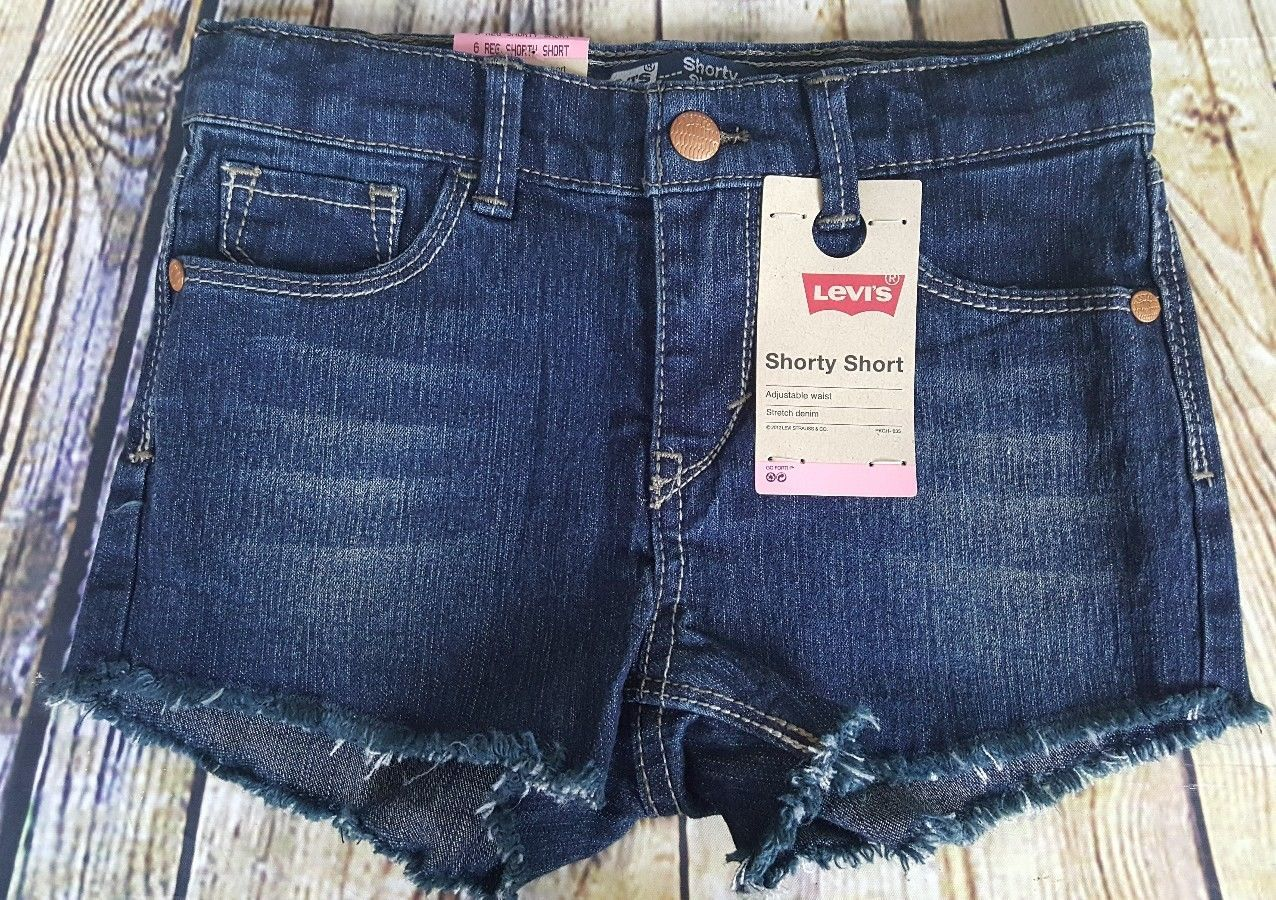 Levis Girls Shorty Short Jet Set Distressed Size 6 Reg Adjustable Waist Denim - $8.90