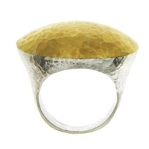 Auth GURHAN 925 Silver & Yellow Gold Dome Ring Size 6 »U424 - $495.00