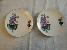 Homer Laughlin Rhythm Violets Bread Plates 2 1950s MCM Vintage  - $19.80
