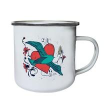 Flying Bird with Heart Funny Novelty New Retro,Tin, Enamel 10oz Mug hh28e - $13.13