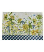 """Floral Place Mat Sunflowers 13"""" X 19"""" Blue Yellow White Cotton Dragonfly... - $28.17"""