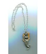"MERMAID STONE Necklace gemstone pendant 20"" silver chain fantasy metal m... - $8.99"
