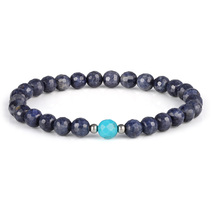 Healing Thyroid Stone - Blue Sapphire & Turquoise Gemstone Bead Stretch ... - $43.99