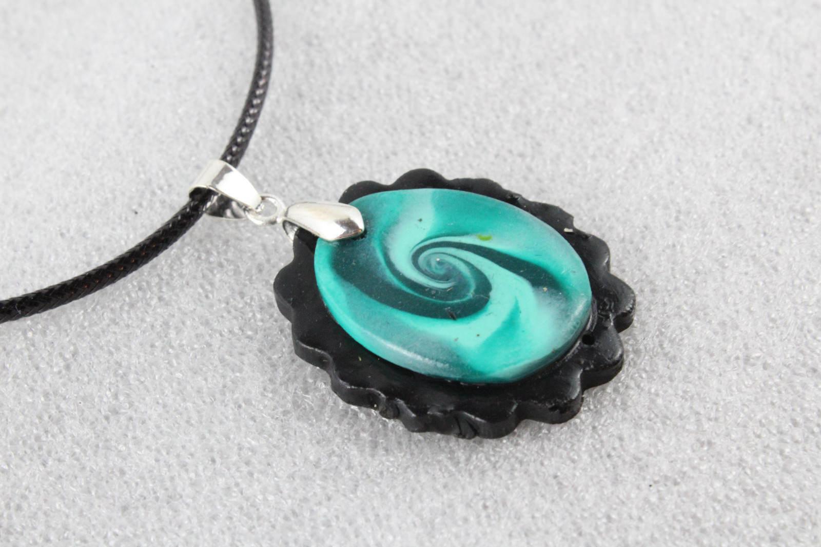 Elegant Handmade Premo Clay Pendant Necklace + Cord #EM016