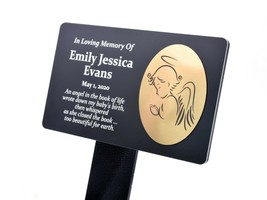 LARGE Personalised Memorial Plaque Stake - Baby Angel (Gold / Silver / C... - $42.36