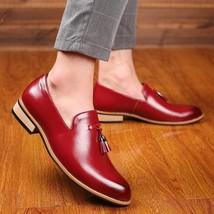 Handmade Men's Red Leather Slip Ons Loafer Tassel Shoes image 1