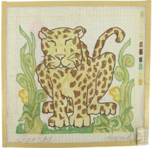 """Vintage 70's Jean Etiel Palm Beach Hand Painted Canvas """"789"""" Leaping Leo... - $28.35"""