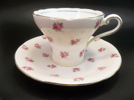 Aynsley Tea Cup Saucer Set Pink Roses English Bone China Teacup - $27.72