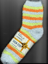 Socks, Ladies Butter Soft Orange, Blue, &Green Striped, Size 9-11, By Go... - $5.99