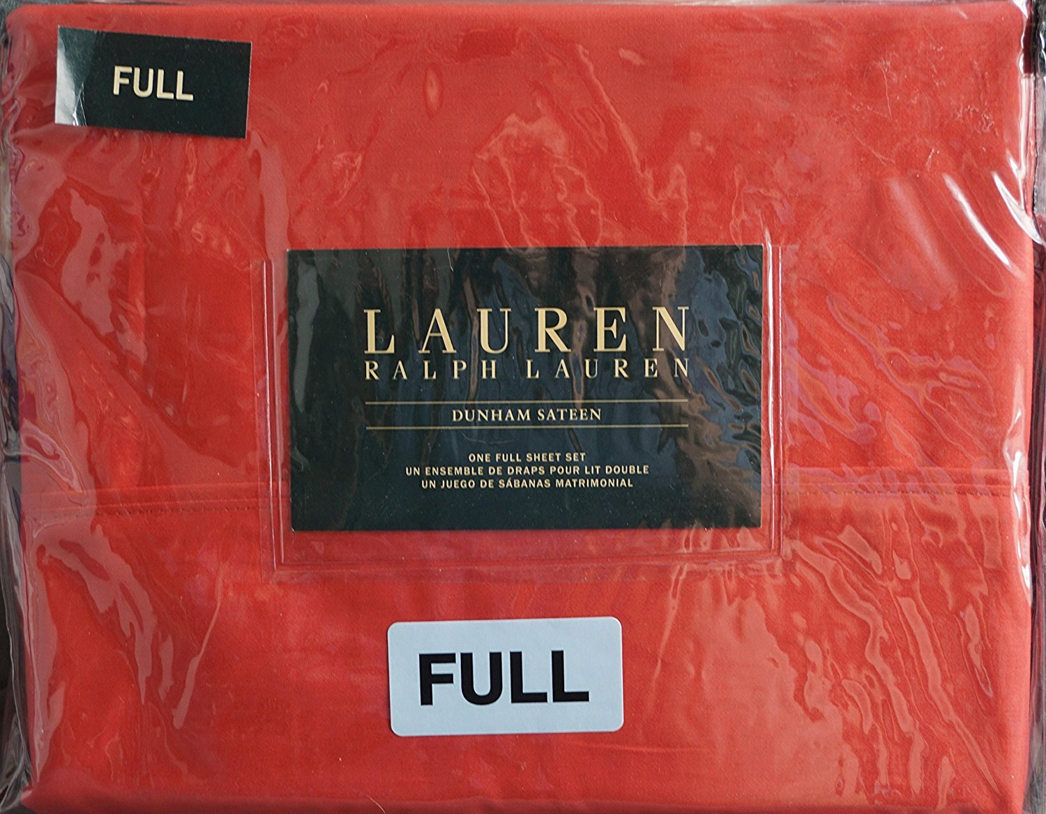 Ralph Lauren Dunham Poppy Orange Red Sheet Set Full
