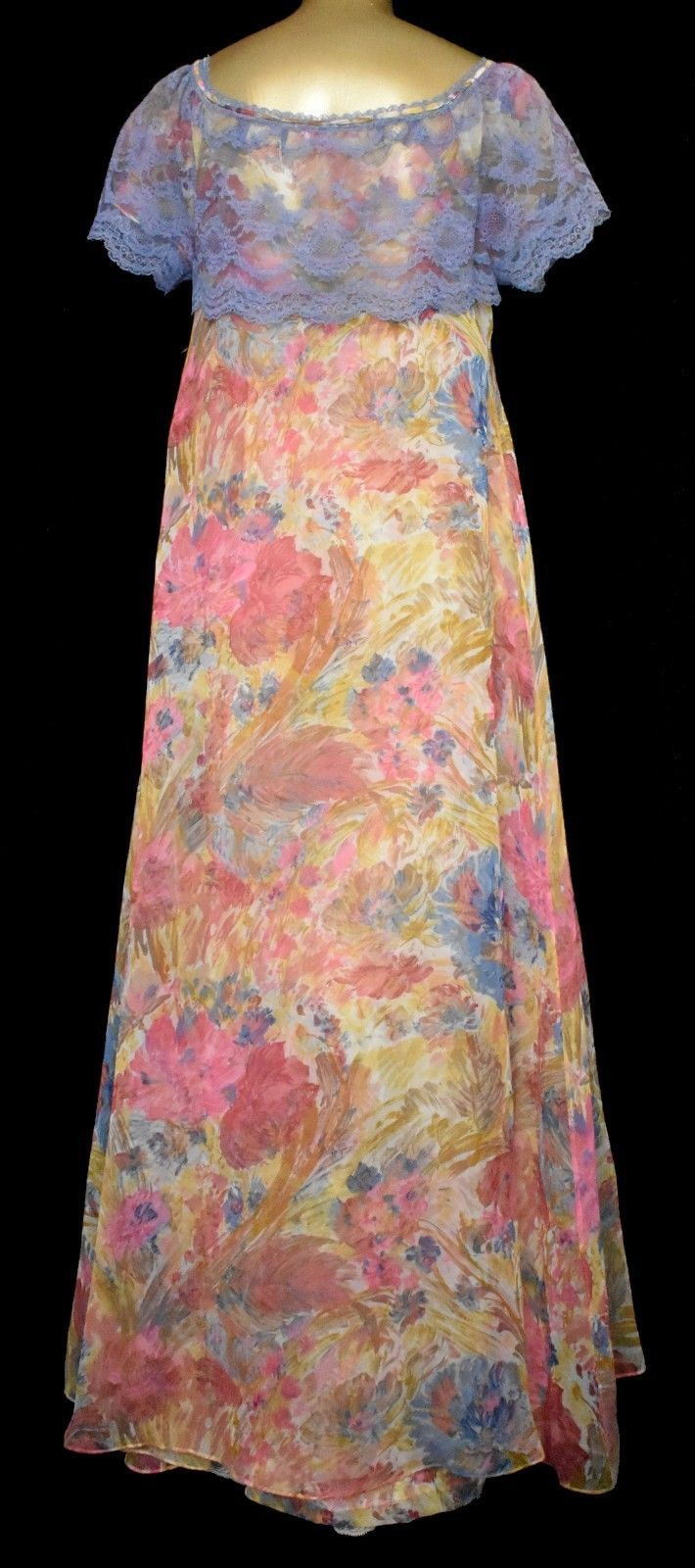 Odette Barsa Peignoir Set Nightgown and Robe Vintage 50s Floral Print  Chiffon S 883e4dc84