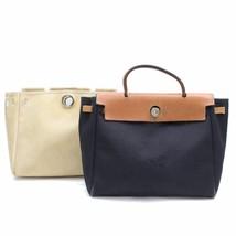 Hermes Womens Paris Black and White Canvas Leather Herbag Purse Handbag ... - $692.39
