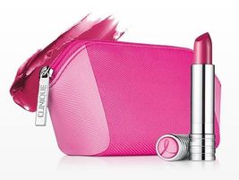 Clinique Pink with a Purpose Long Last Lipstick in Power with Pink & Makeup Bag  - $29.98