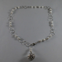.925 SILVER RHODIUM NECKLACE WITH WHITE AGATE AND SILVER SPHERE image 2