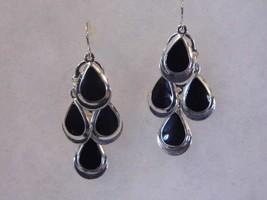 Pair Pierced Earrings Dangling Black Silver Tone Costume Fashion Jewelry - $10.66