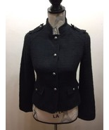 H&M Black Women Tweed Blazer Military Textured Lined Sz 4 Porter Fitted - $33.47