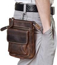 Men's Genuine Leather Waist Pack Cow Leather Messenger Bag Phone Bum Bag - $49.93