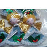 7 Spun Cotton Chenille Christmas Angel Ornaments - Made in Japan  - $16.95