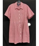 J.G. Hook 14P Red Gingham Seersucker Shirt Dress Button Front Pockets Ro... - $36.10
