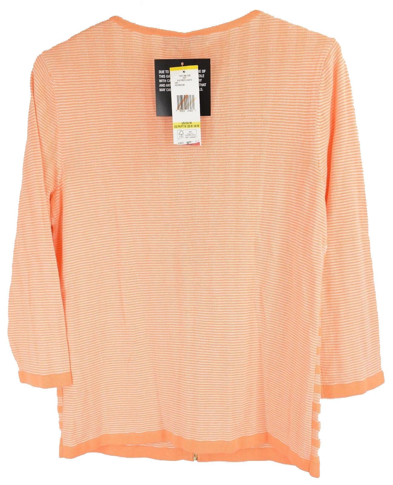 4635-2 Jones New York Collection Full Zip Cardigan Sweater Sherbert White, M $89 image 2