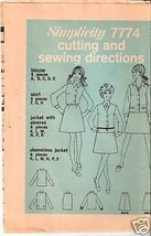 Simplicity  7774 Young Jr. or Teen Shirt, Blouse & Jkt. - $2.99