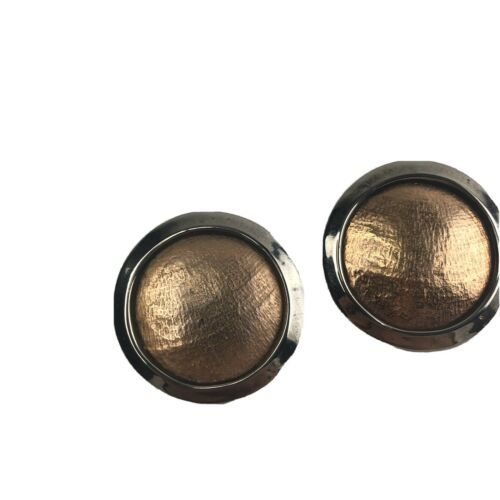 Primary image for VTG Brutalist Mixed Metal Copper? Bronze Large Round  Earrings Post 1 1/4""